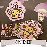 Monkey Girl - 8 Person Baby Shower Kit