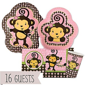 Monkey Girl - Baby Shower Tableware Bundle for 16 Guests