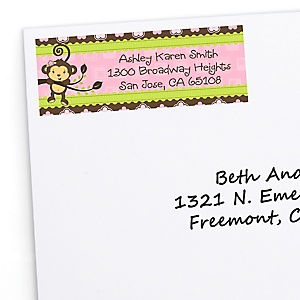 Monkey Girl - Personalized Baby Shower Return Address Labels - 30 Count
