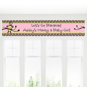 Monkey Girl - Personalized Baby Shower Banners