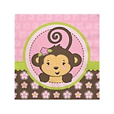 Pink Monkey Girl - Baby Shower Beverage Napkins - 16 ct