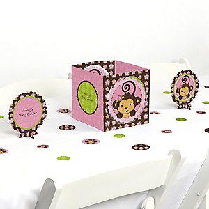 Monkey Girl - Baby Shower Centerpiece & Table Decoration Kit