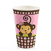 Pink Monkey Girl - Baby Shower Hot/Cold Cups - 8 ct