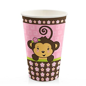 Monkey Girl - Baby Shower Hot/Cold Cups - 8 ct