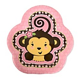 Pink Monkey Girl - Baby Shower Dessert Plates - 8 ct