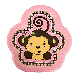 Monkey Girl - Baby Shower Dessert Plates - 8 Pack