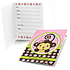 Monkey Girl - Baby Shower Fill In Invitations - 8 ct