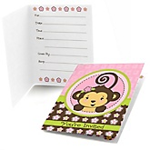 Monkey Girl - Fill In Baby Shower Invitations - Set of  8