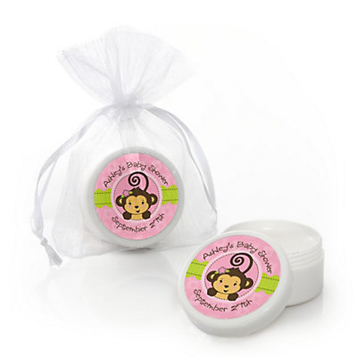 Pink Monkey Girl - Personalized Baby Shower Lip Balm Favors...