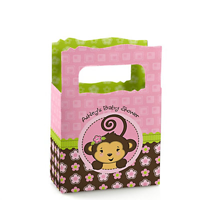 monkey girl personalized baby shower mini favor boxes