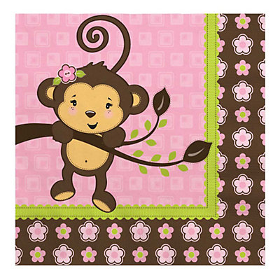 monkey girl baby shower luncheon napkins 16 ct bigdotofhappiness