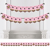 Monkey Girl - Personalized Baby Shower Bunting Banner