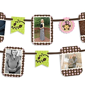 Monkey Girl - Baby Shower Photo Garland Banners