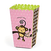 Monkey Girl - Personalized Baby Shower Popcorn Boxes