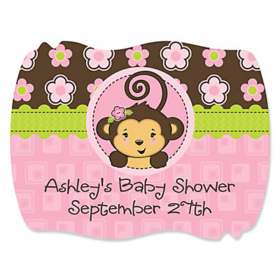 monkey girl baby shower squiggle sticker thumb