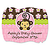 Pink Monkey Girl - Personalized Baby Shower Squiggle Stickers - 16 ct