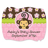 Monkey Girl - Personalized Baby Shower Squiggle Sticker Labels - 16 Count