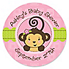 Monkey Girl - Personalized Baby Shower Sticker Labels - 24 ct