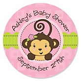 Monkey Girl - Personalized Baby Shower Round Sticker Labels - 24 Count