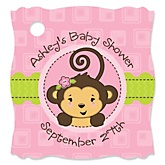Monkey Girl - Personalized Baby Shower Tags - 20 Count
