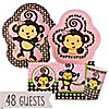 Pink Monkey Girl - Birthday Party 48 Big Dot Bundle
