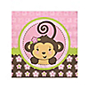Pink Monkey Girl - Birthday Party Beverage Napkins - 16 ct