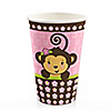 Pink Monkey Girl - Birthday Party Hot/Cold Cups - 8 ct