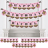 Pink Monkey Girl - Personalized Birthday Party Bunting Banner & Decorations