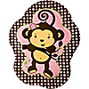Pink Monkey Girl - Birthday Party Dinner Plates - 8 ct