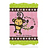 Monkey Girl - Personalized Birthday Party Thank You Cards