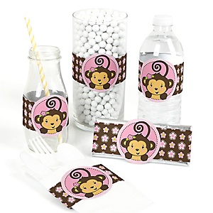 Monkey Girl - DIY Party Wrappers - 15 ct