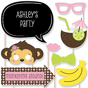 Monkey Girl - Baby Shower Photo Booth Props Kit - 20 Props