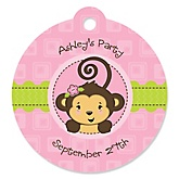 Monkey Girl - Personalized Baby Shower Round Tags - 20 Count