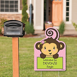 Monkey Girl - Party Decorations - Birthday Party or Baby Shower Personalized Welcome Yard Sign
