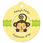 Monkey Neutral - Personalized Baby Shower Round Tags - 20 Count