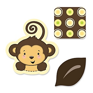 Monkey Neutral - Shaped Party Paper Cut-Outs - 24 ct