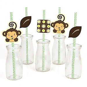 Monkey Neutral - Paper Straw Decor - Baby Shower or Birthday Party Striped Decorative Straws - Set of 24