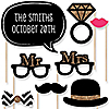 Mr. & Mrs. - Gold - 20 Piece Photo Booth Props Kit