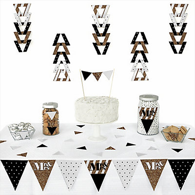 Mr. & Mrs. - Gold - 72 Piece Triangle Bridal Shower Decoration Kit