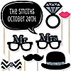 Mr. & Mrs. - Silver - 20 Piece Photo Booth Props Kit