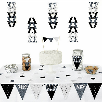 Mr. & Mrs. - Silver - 72 Piece Triangle Bridal Shower Decoration Kit