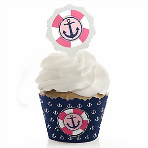 Ahoy - Nautical Girl - Baby Shower Cupcake Wrapper & Pick Party Kit - 24 Count