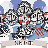 Ahoy - Nautical - 16 Person Baby Shower Kit