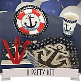 Ahoy - Nautical - 8 Person Baby Shower Kit