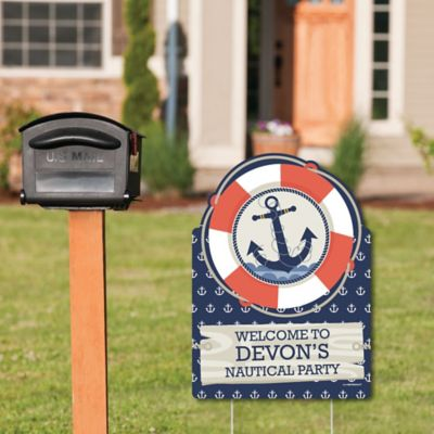 ahoy nautical party decorations birthday party or baby shower welcome yard sign