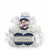 Ahoy - Nautical - 2 Tier Personalized Square Baby Shower Diaper Cake