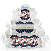 Ahoy - Nautical - 3 Tier Personalized Square Baby Shower Diaper Cake