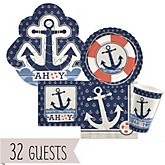 Ahoy - Nautical - Baby Shower Tableware Bundle for 32 Guests