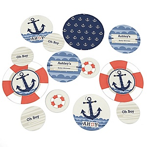 Ahoy - Nautical - Personalized Baby Shower Table Confetti - 27 Count