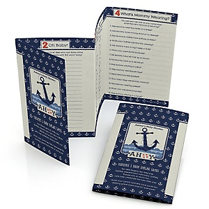 Ahoy - Nautical - Personalized Baby Shower Fabulous 5 Games
